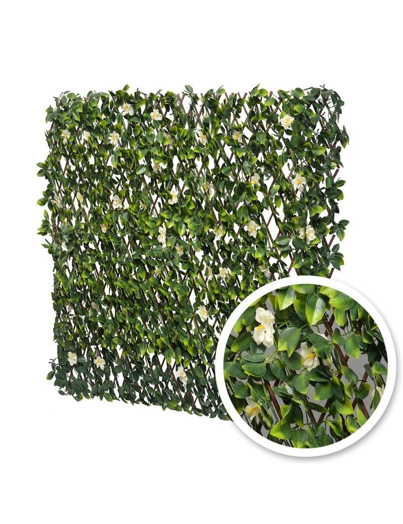 Treillis extensible synthétique en osier naturel modèle fleurs de jasmin